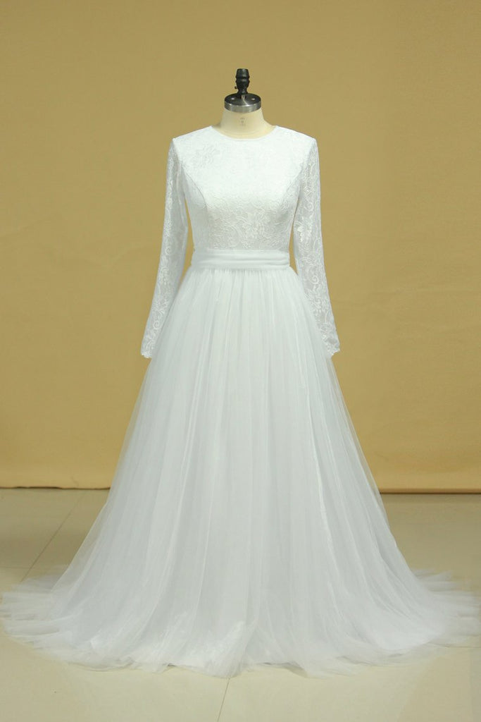 2019 Plus Size Long Sleeves Wedding Dresses Scoop A Line Tulle & Lace Sweep Train