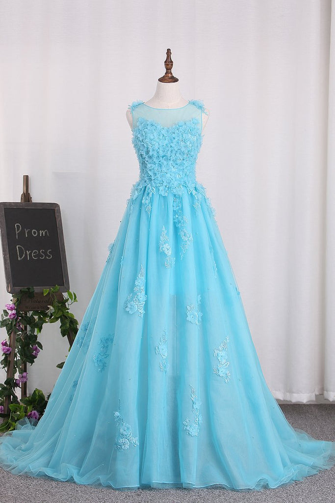 A Line Prom Dresses Tulle Bateau With Applique And Handmade Flower Sweep Train