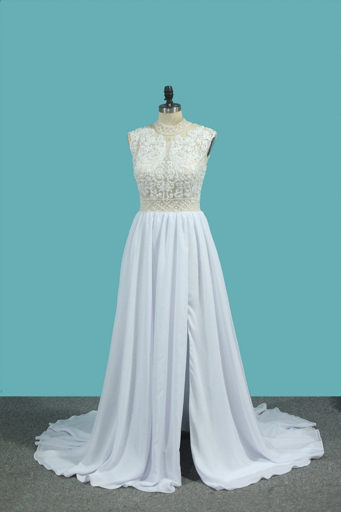 2020 A Line Chiffon High Neck Wedding Dresses With Beads And Slit Sweep Train