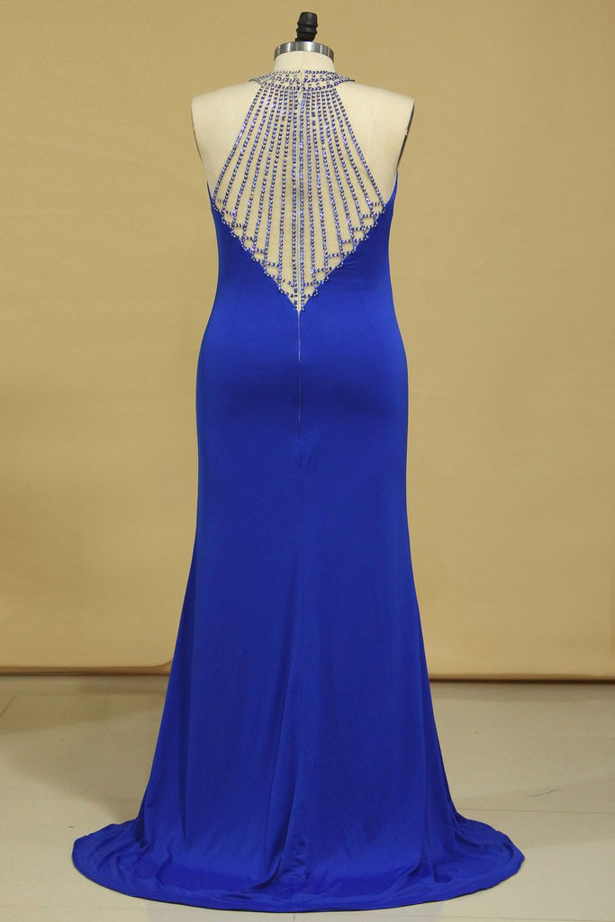 2019 Dark Royal Blue Prom Dresses Sheath Scoop With Beading Sweep Train