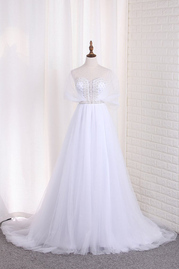 2019 Tulle A Line Sweetheart Beaded Bodice Wedding Dresses Court Train