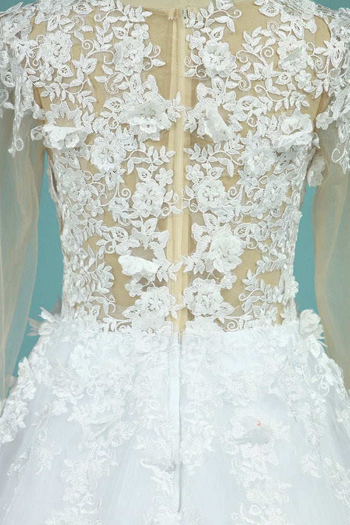 2019 Gorgeous Wedding Dresses A-Line Scoop Long Sleeves Tulle With Applique Chapel Train