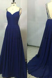 2020 Custom Made Royal Blue Spaghetti Straps Sleeveless Backless Sweetheart Prom Dresses WK770