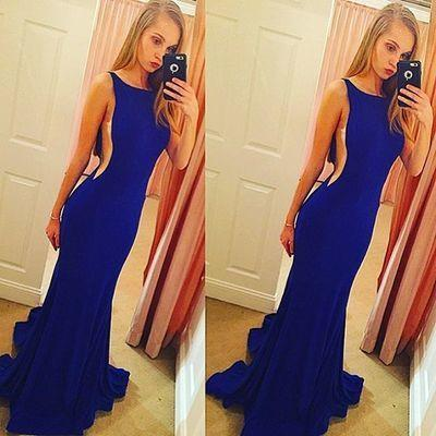 Backless Elegant Mermaid Royal Blue Scoop Sleeveless Sexy Evening Dresses For Teens WK37