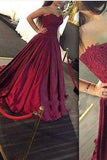 Gorgeous Long Sweetheart Strapless Ball Gown Lace Formal Dress Burgundy Prom Dresses WK174