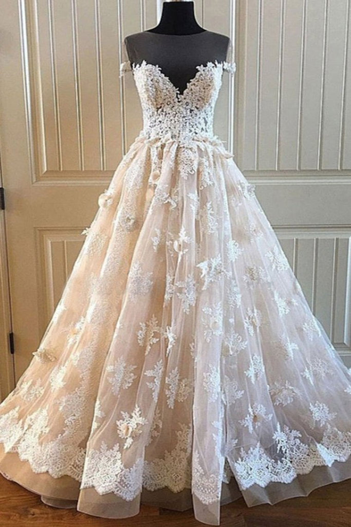 Ivory And Champagne Long Cap Sleeves Lace Tulle Wedding Dresses