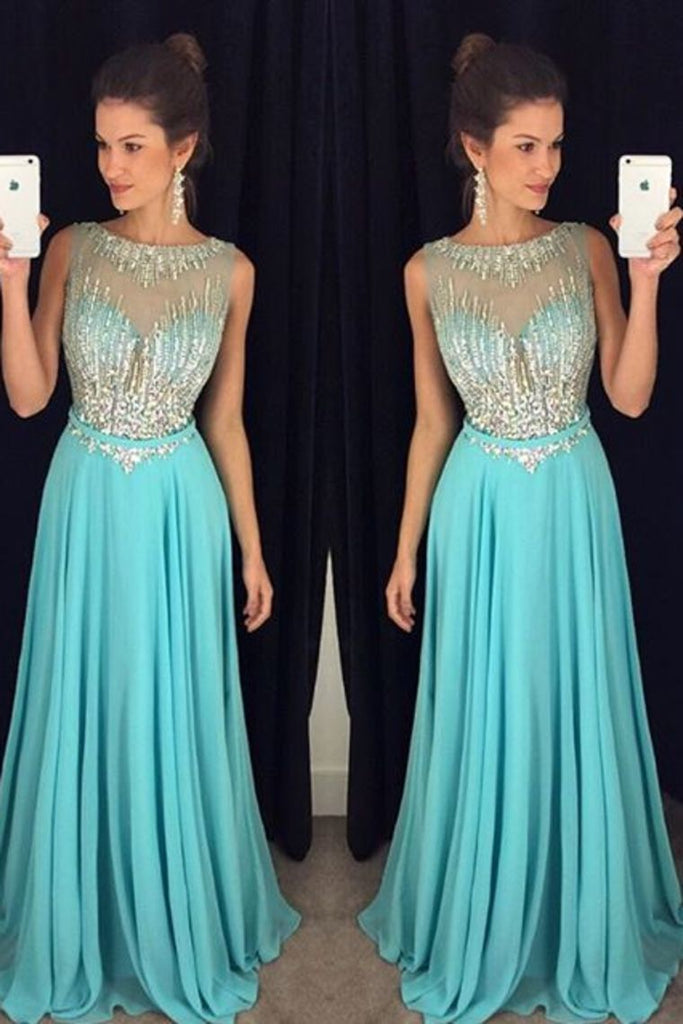2019 Chiffon Scoop A-Line Prom Dresses With Beaded Bodice