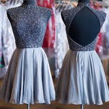 A-Line Open Back High Neck Beads Homecoming Dress For Teens WK333