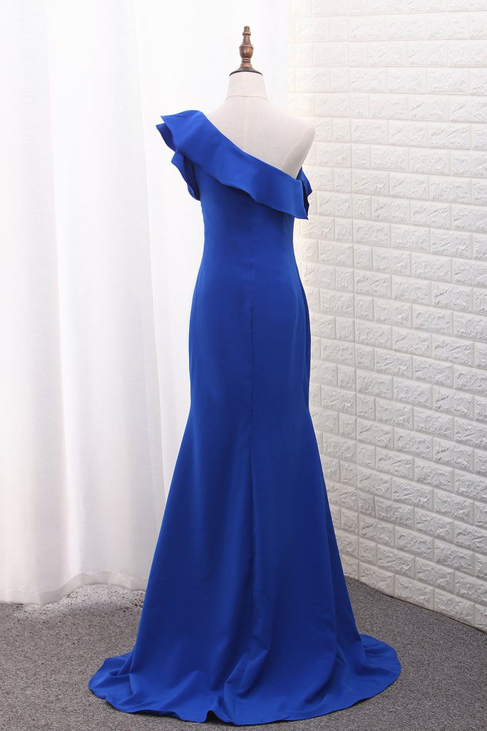 2019 Mermaid Satin One Shoulder Evening Dresses Sweep Train