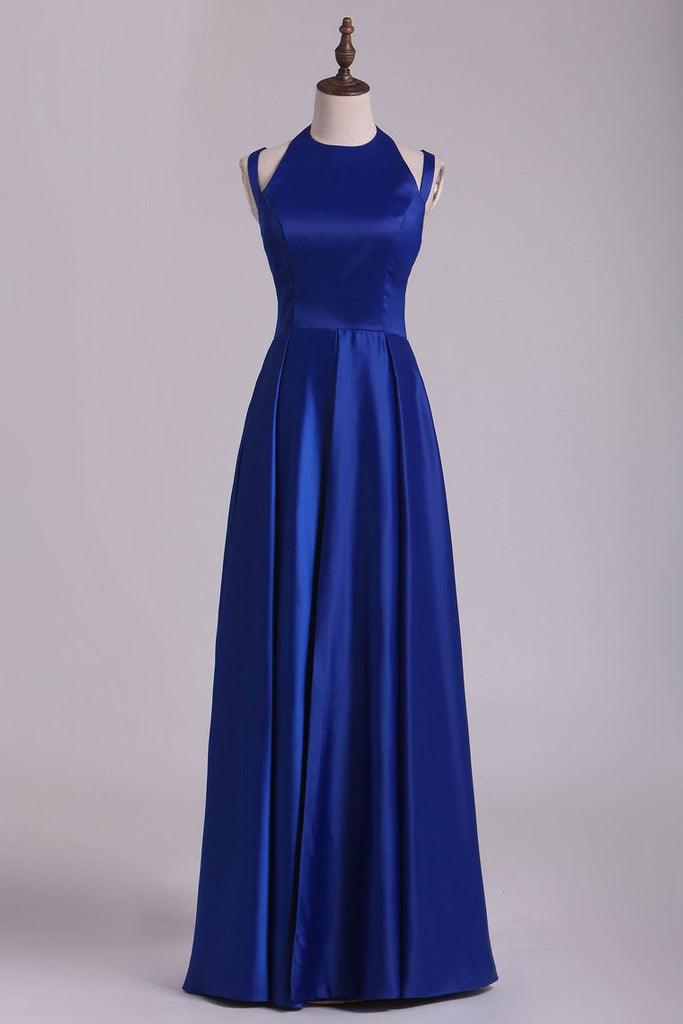 2019 Scoop Prom Dresses A Line Open Back Stretch Satin With Slit Floor Length