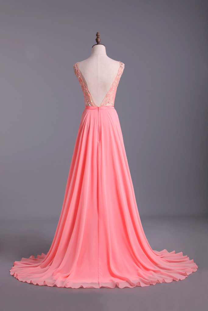 Bateau A-Line Chiffon Prom Dresses With Ribbon Sweep Train