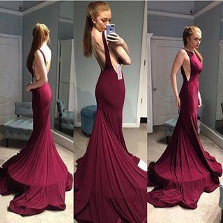 Backless Elegant Mermaid Open Back Halter Sexy Sleeveless Burgundy Evening Dresses For Teens WK81