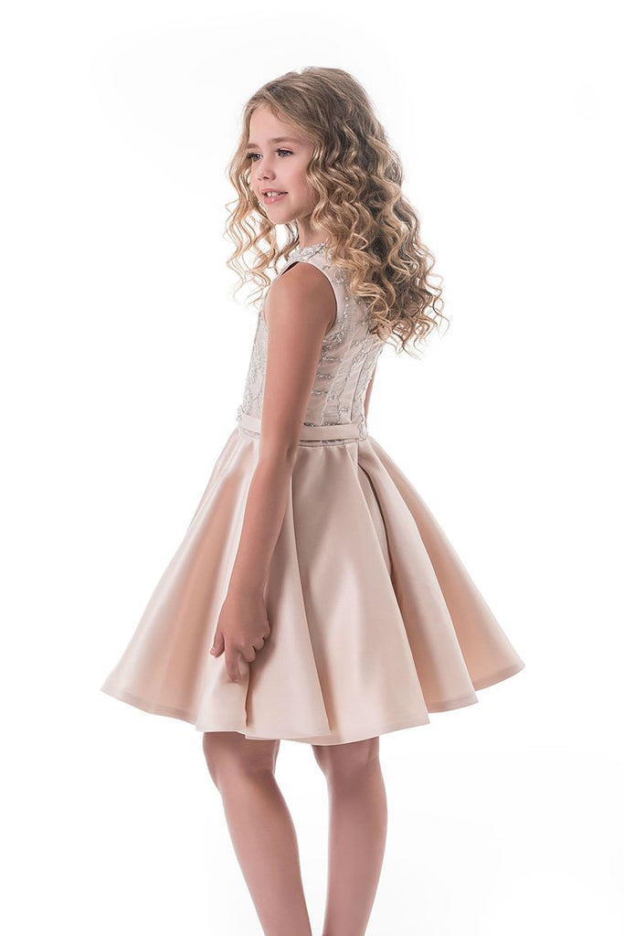 2019 Scoop Flower Girl Dresses A Line Beaded Bodice Satin Short/Mini
