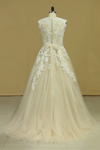 Plus Size V Neck Wedding Dresses Tulle With Applique Court Train Tulle