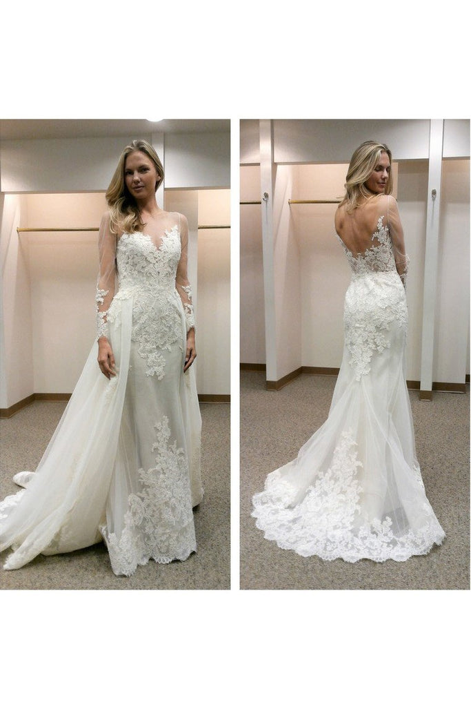 2019 Wedding Dresses Mermaid Long Sleeves Scoop With Applique Tulle
