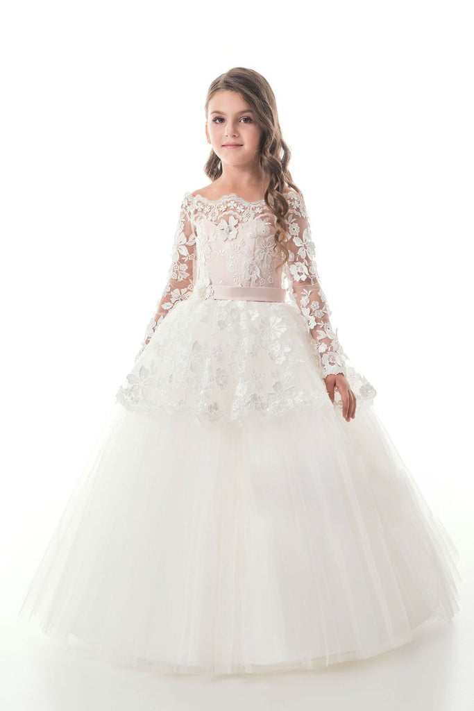 2019 Tulle Boat Neck Flower Girl Dresses A Line Long Sleeves With Applique