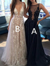 2020 Long Sexy Deep V-Neck Tulle Lace Appliques Floor-Length A-Line Party Prom Dress WK122