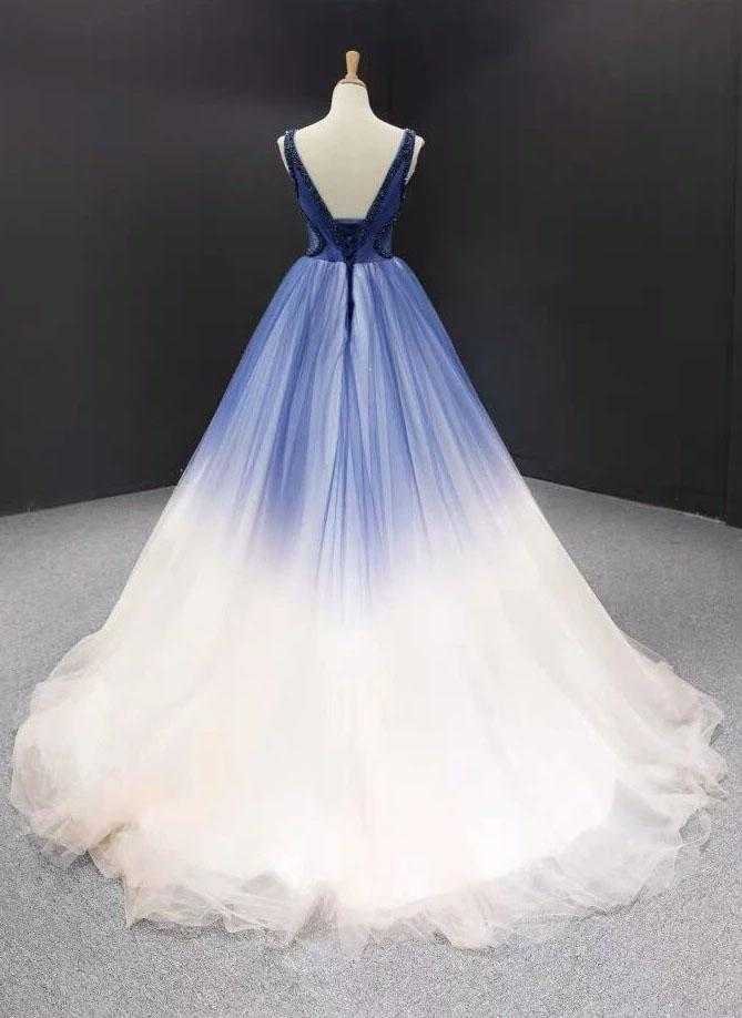 Buy Ball Gown Ombre V Neck Tulle Royal Blue Long Prom Dresses