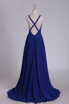 2019 Straps Bridesmaid Dresses Open Back A Line Chiffon