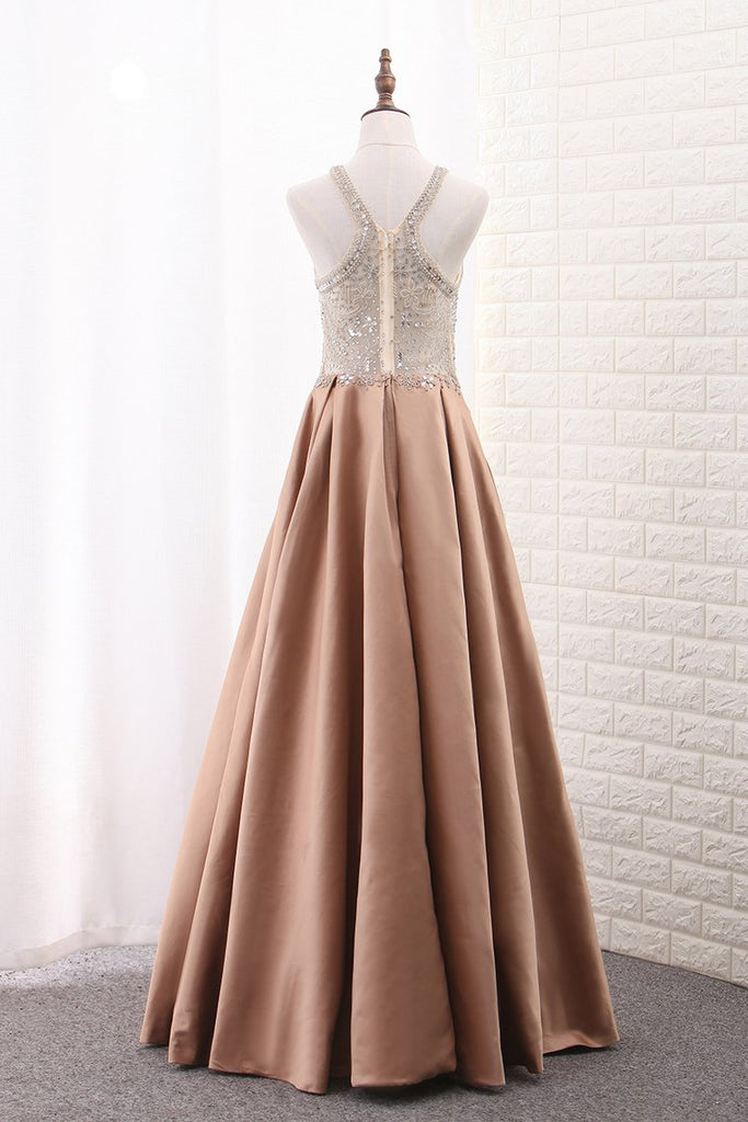 Satin Scoop A Line With Beads Sweep Train Prom Dresses