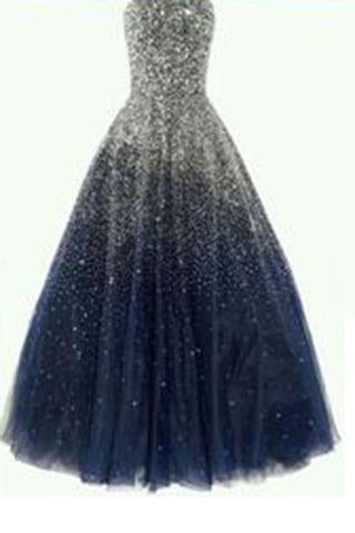 Best Ball Gown Strapless Floor Length Tulle Navy Blue Prom/Evening Dresses with Beading WK858
