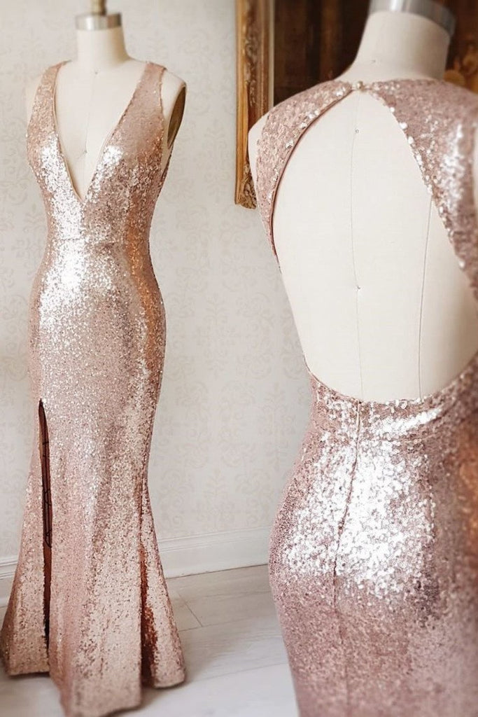 2019 Sexy Open Back V Neck Mermaid Prom Dresses Sequins With Slit