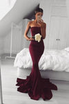 2020 New Sexy Mermaid Burgundy Long Strapless Sleeveless Floor Length Prom Dresses WK767