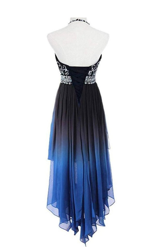 2019 High Low A Line Halter Beaded Bodice Prom Dresees Chiffon