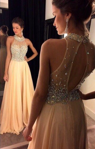 Champagne Chiffon Crystals Beaded Sleeveless A-line Open Back Halter Evening Dresses WK19