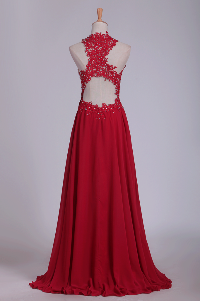 2019 Sexy Open Back Scoop Prom Dresses A Line With Applique And Beads Chiffon