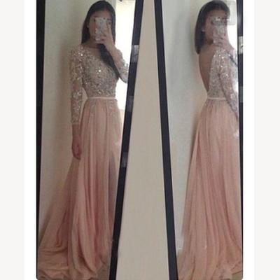 Long Sleeve Backless Long Sexy Lace Pink Beads A-Line Scoop Prom Dresses WK943