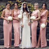 Sexy Mermaid Slit Backless Bridesmaid Dress Long Spaghetti Straps Bridesmaid Dress WK916