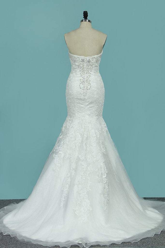 2019 Strapless Mermaid/Trumpet Wedding Dresses Court Train With Beads And Applique
