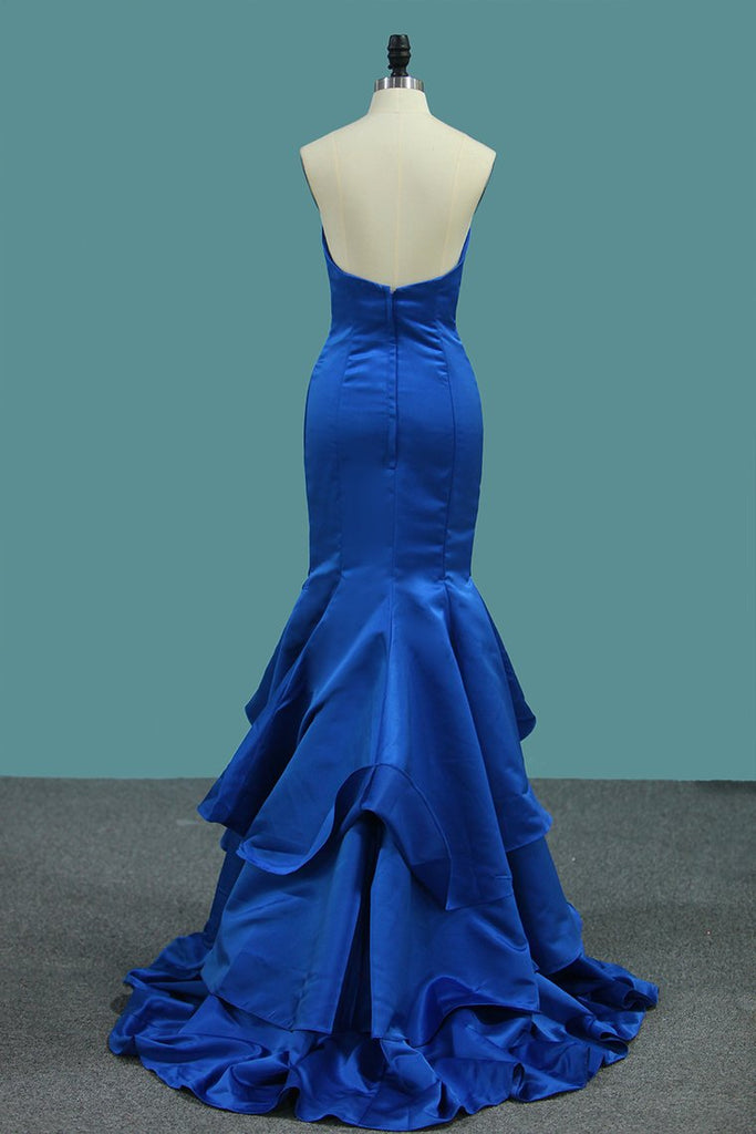 New Arrival Mermaid Sweetheart Satin Evening Dresses Sweep Train