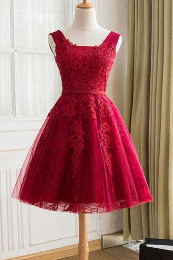 Cute A Line Red Sweetheart Lace Appliques Sleeveless Lace up Homecoming Dresses WK606