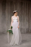 Spaghetti Straps Lace Top Light Grey A-line Tulle Simple Design Beach Wedding Dresses WK513