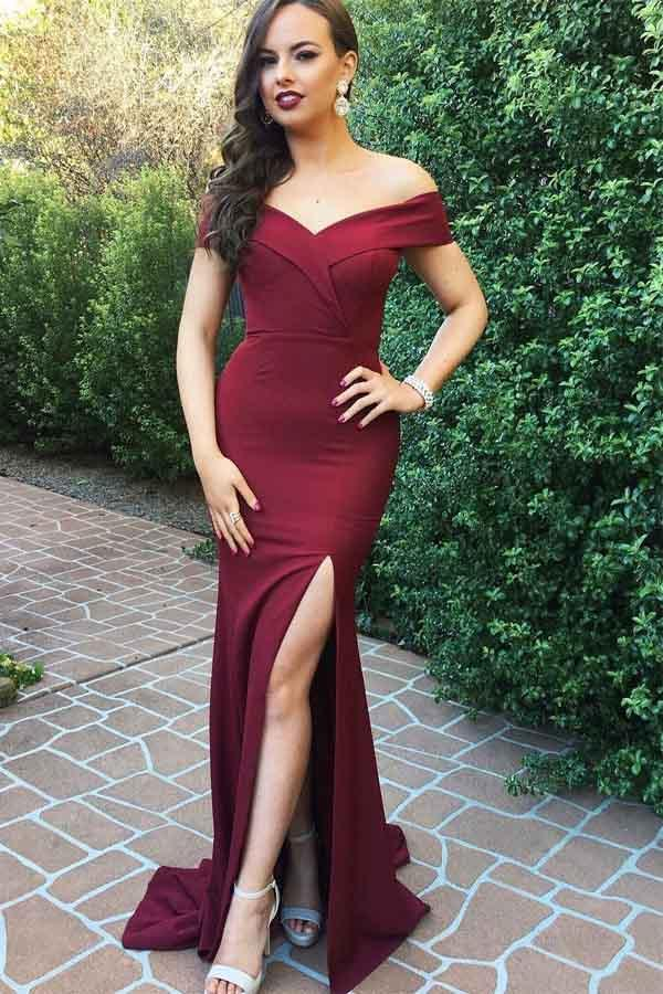 2020 Charming Off the Shoulder Burgundy Satin Mermaid Long Prom Dresses With Slit WK384