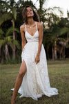 Charming Lace Long A-line Spaghetti Straps Ivory V-Neck Beach Wedding Dress WK416