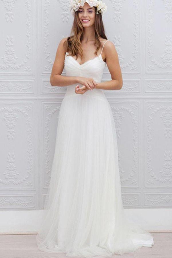 V-Neck Long Tulle A-line White Spaghetti Straps Backless With Bodice Wedding Dresses WK395
