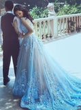 A-Line Square Chapel Train Sleeveless Blue Tulle Wedding Dress with Appliques Sash WK336