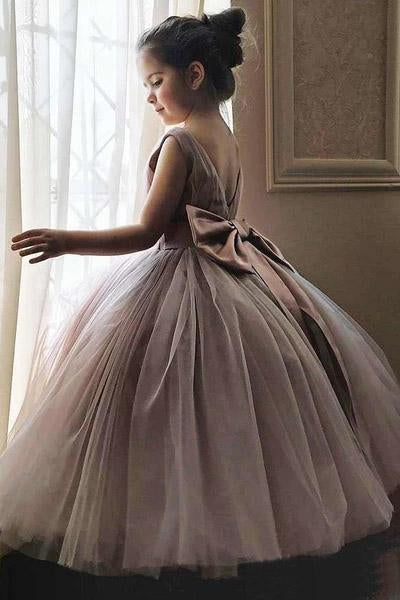 Cheap Cute Mauve Ball Gown Flower Girl Dresses with Bow on the Back WK883