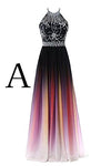 Elegant A-Line Halter Gradient Chiffon Long Ombre Beads Lace up Prom Dresses WK363