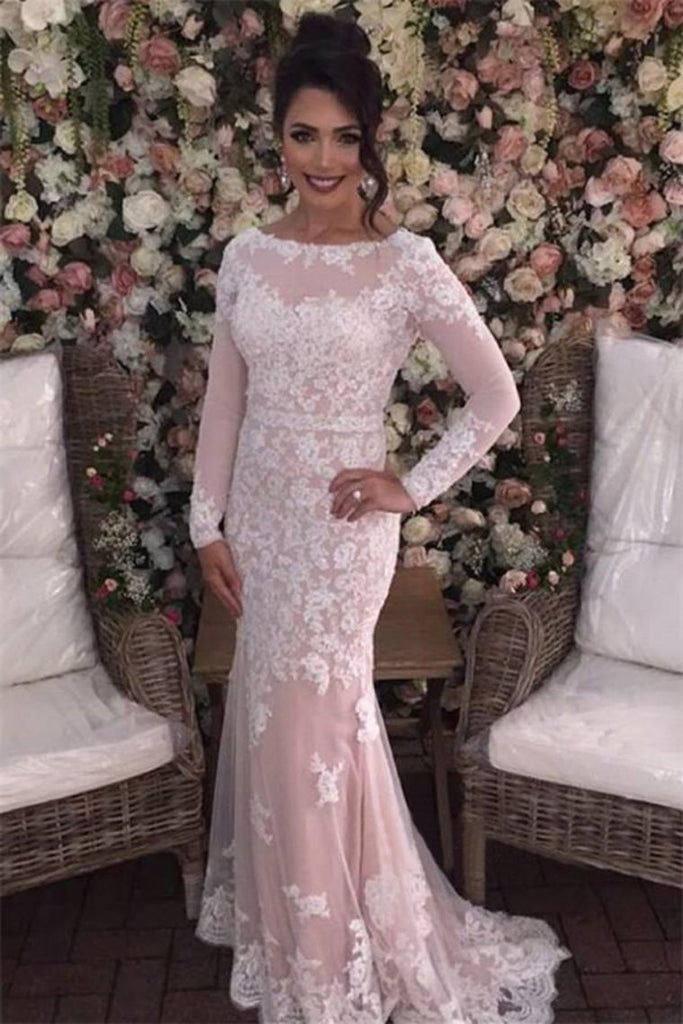 2019 Mermaid Prom Dresses Scoop Long Sleeves Tulle With Applique
