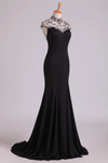 New High Neck Sheath Prom Dresses Spandex With Beading & Slit