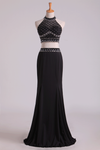 2019 Black Halter Two-Piece Beaded Bodice Mermaid Open Back Prom Dresses Spandex & Tulle Floor Length