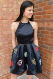 Two Piece Halter Backless Black Homecoming Dress With Pockets