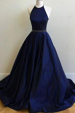 Charming Sexy Simple Halter Navy Blue Sleeveless Ball Gowns Prom Dresses WK771