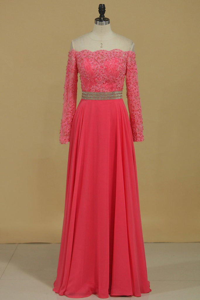 2019 Scoop Chiffon With Applique And Beads Sweep Train A Line Prom Dresses