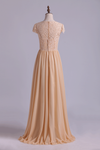 2019 Scoop Bridesmaid Dresses A Line Lace Bodice Chiffon Sweep Train