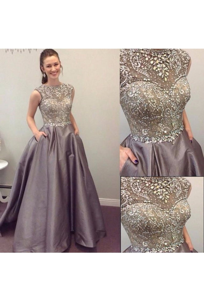 2019 Scoop Beaded Bodice Taffeta A Line Sweep Train Prom Dresses